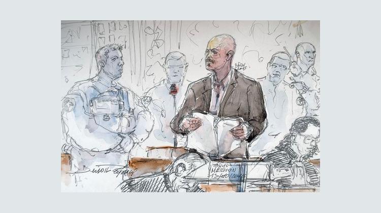 Dessin du procès de Tony Meilhon en octobre 2015• Crédits : Benoît Peyrucq - AFP